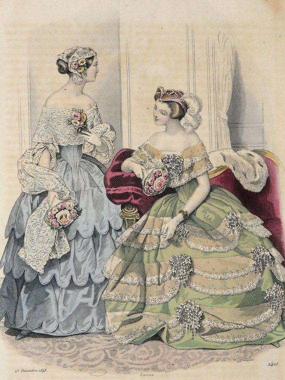 1848 Antique FASHION lithograph Two Ladies by AntiquePrintsOnly, $19.50