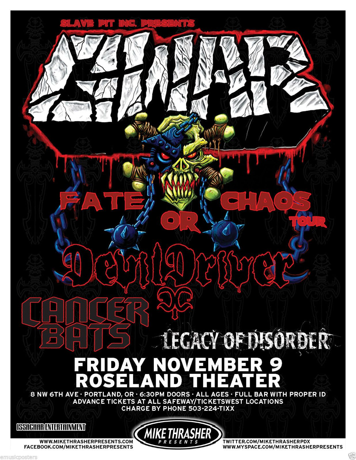 Heavy Metal Music Posters Chaos Tour 2012 Portland Concert Tour Poster Heavy Metal Music Ebay Concert Posters Music Poster Metal Music