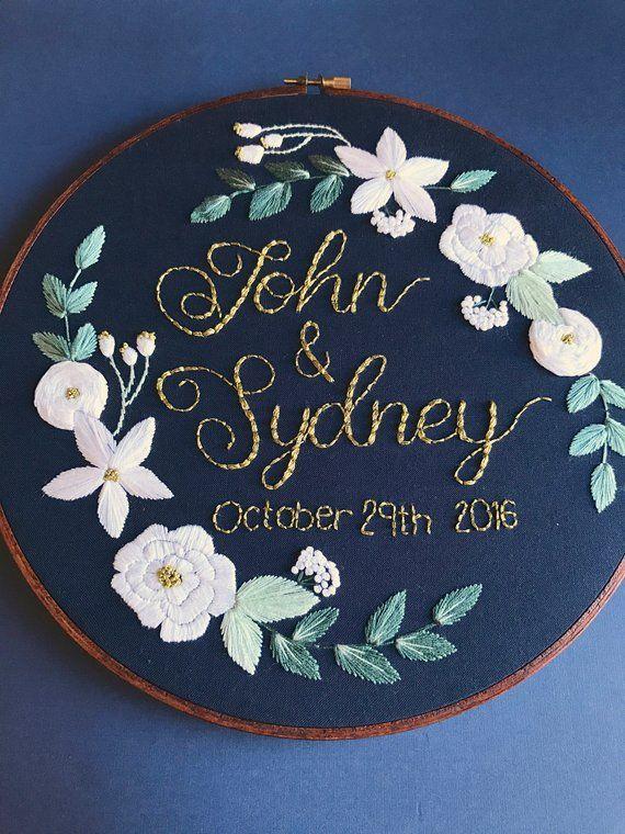 Custom Embroidery Design Wedding Anniversary 5 Year Anniversary