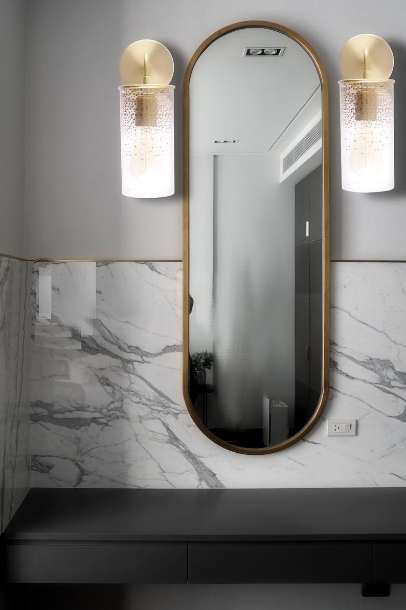 Gold Art Glass Wall Sconce Modern Lighting Fixture Brass Etsy Bathroom Wall Sconces Bathroom Inspiration Modern Glass Wall Sconce