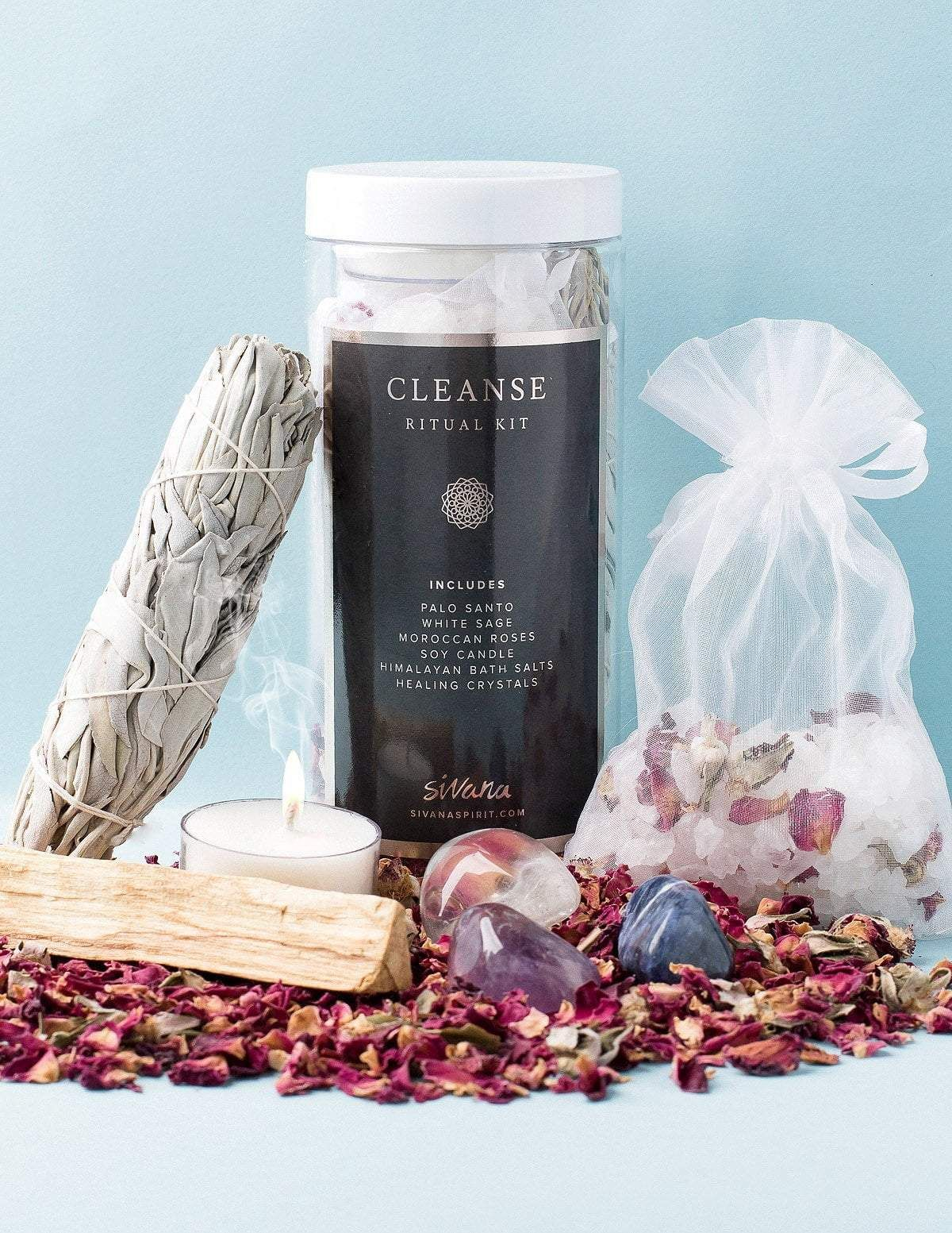 Cleanse ritual kit crystal healing tea candles healing