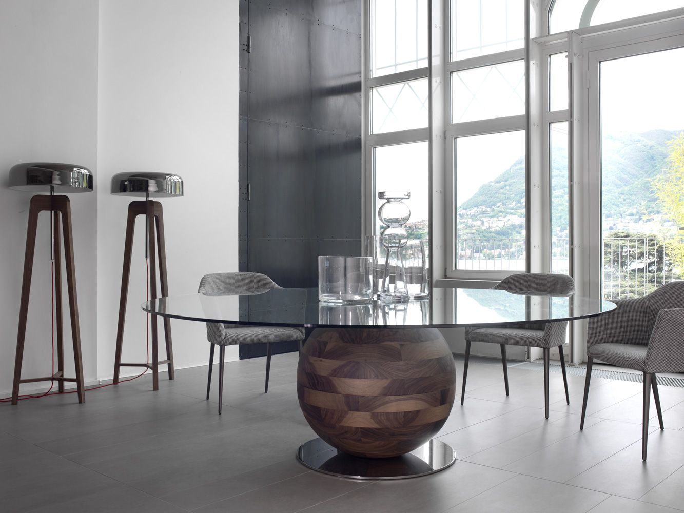 Delightful Dining Table With Base In Solid Walnut And Temepered Glass Top Amazing Contemporary  Dining Tables Steal The Show With A Sculptural Base