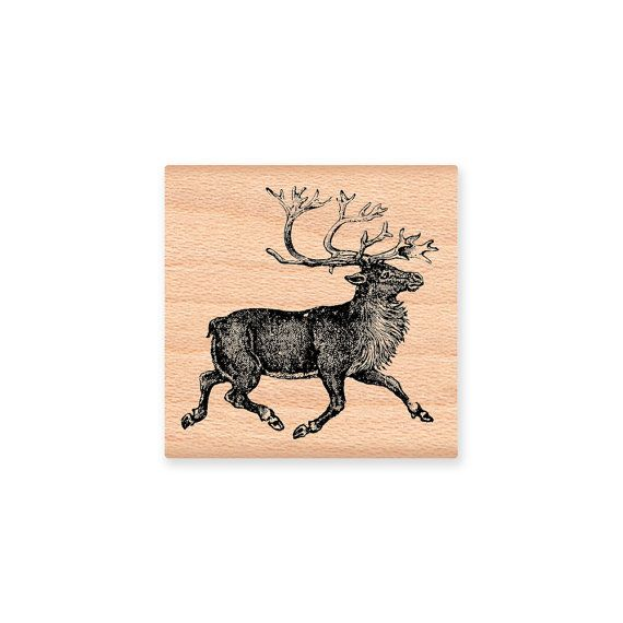 Reindeer Rubber Stamp Vintage Nordic Scandinavian Reindeer Christmas Crafting Two Size Options Wood Mounted Rubber Stamp 29 12lg 21 10sm Reindeer Nordic Christmas Crafts