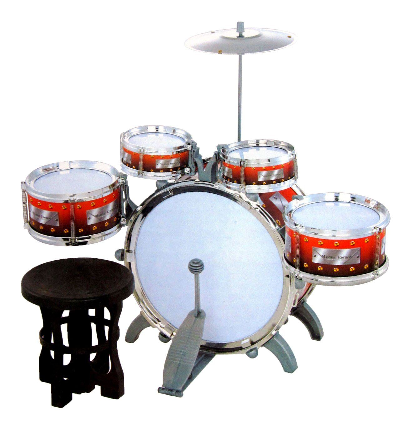 Jazz Drum Set With Chair Music Toy Instrument For Kids 10 Pc 10