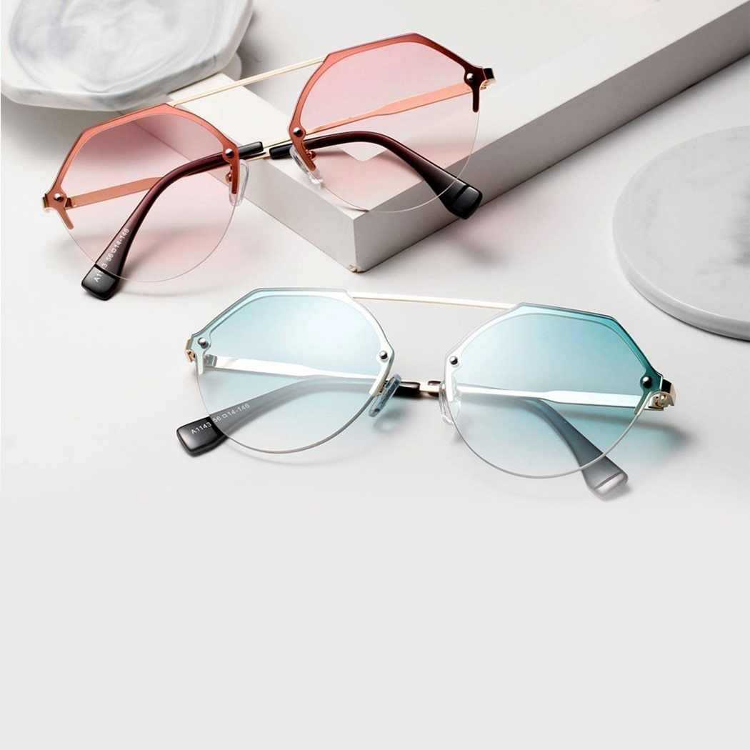 OVERSIZED VINTAGE RETRO Style Clear Lens EYE GLASSES Silver Metal Hexagon Frame
