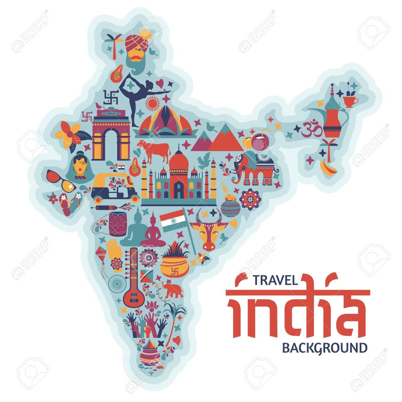 Traditional symbols in the form of a map of India Illustration , #AD, #form, #symbols, #Traditional, #Illustration, #India