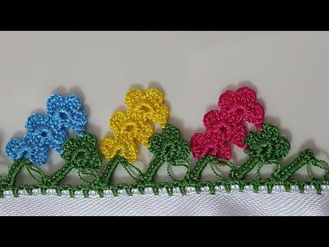 Üçüz Çiçekler Tığ Oyası Ve Havlu Kenarı Modeli Yapılışı Videolu