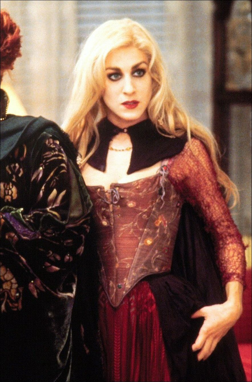 this costume was worn by sarah jessica parker as sarah sanderson in the 1993 film hocus pocus when watching the film it is obvious that several copies of