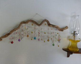 mobile, hanging mobile, driftwood, ceiling art, zen art, natural ...