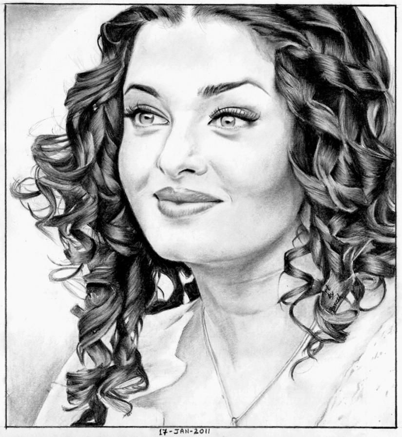 Aishwarya Rai Pencil Sketch - Creative Art In Sketching Paresh Jadhav Portfolio