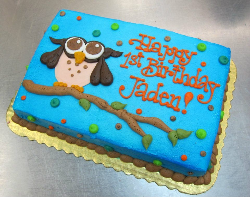 Owl Birthday Cake by Stephanie Dillon LS1 HyVee Bakery Department