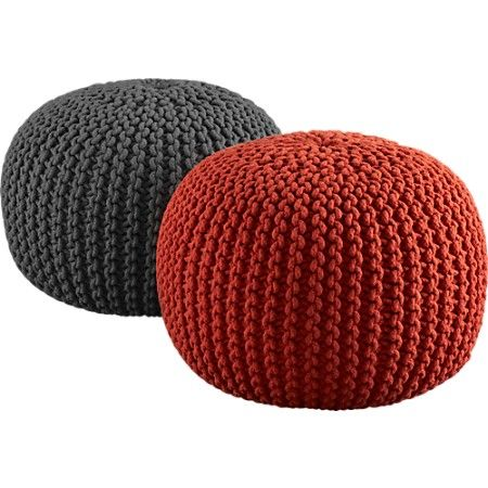 Home Ec Flunkee: How to Make a Knitted Pouf Ottoman. Looks kinda fun;  expensive to stuff?