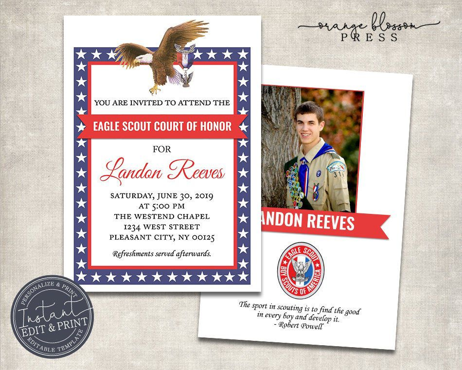 Digital DIY Guestbook Eagle Scout Guestbook Eagle Scout Printables Boy Scout Banquet EDITABLE Eagle Scout Court of Honor Guest Book Page