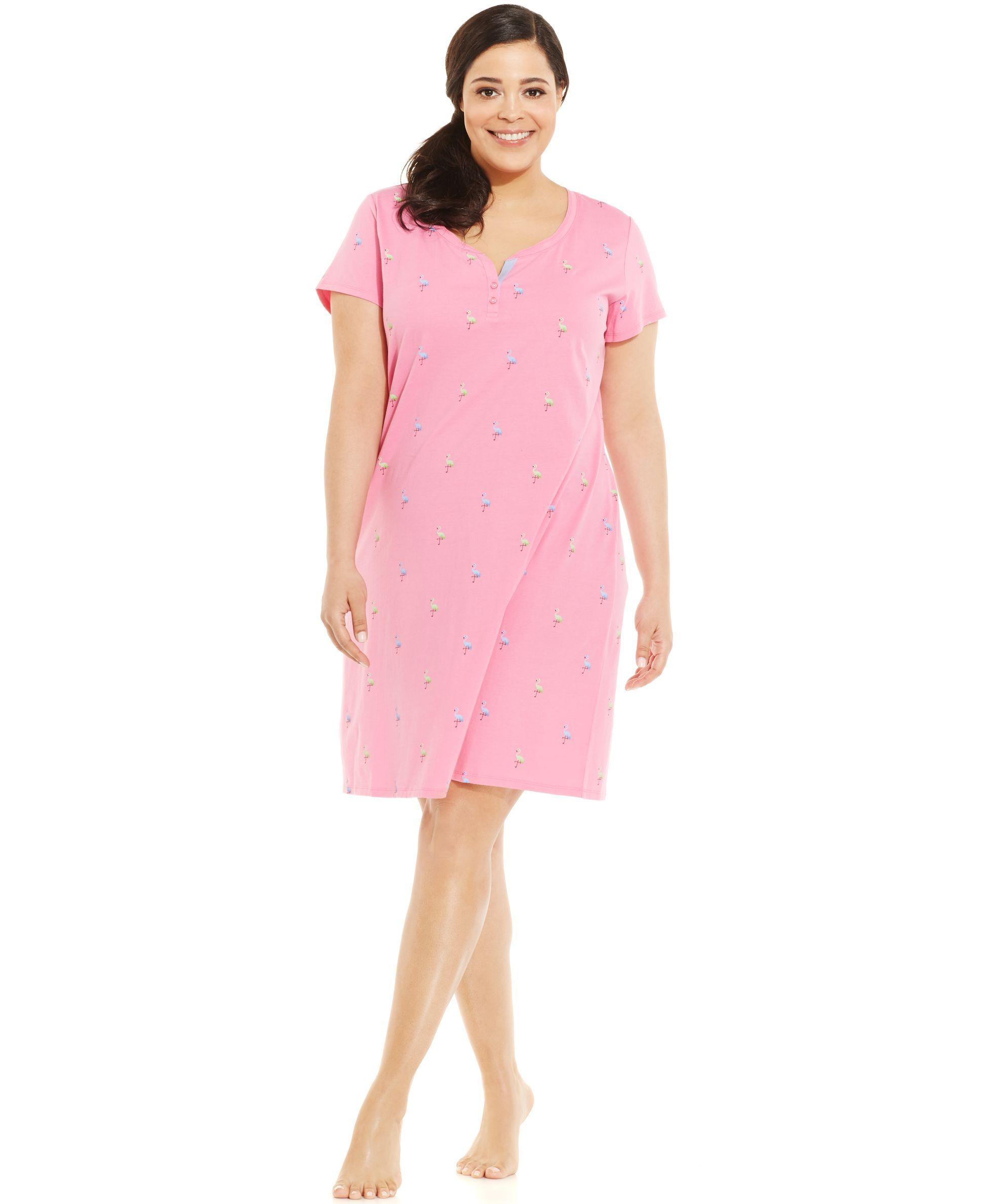Charter Club Plus Size Novelty Henley Short Sleeve Sleepshirt