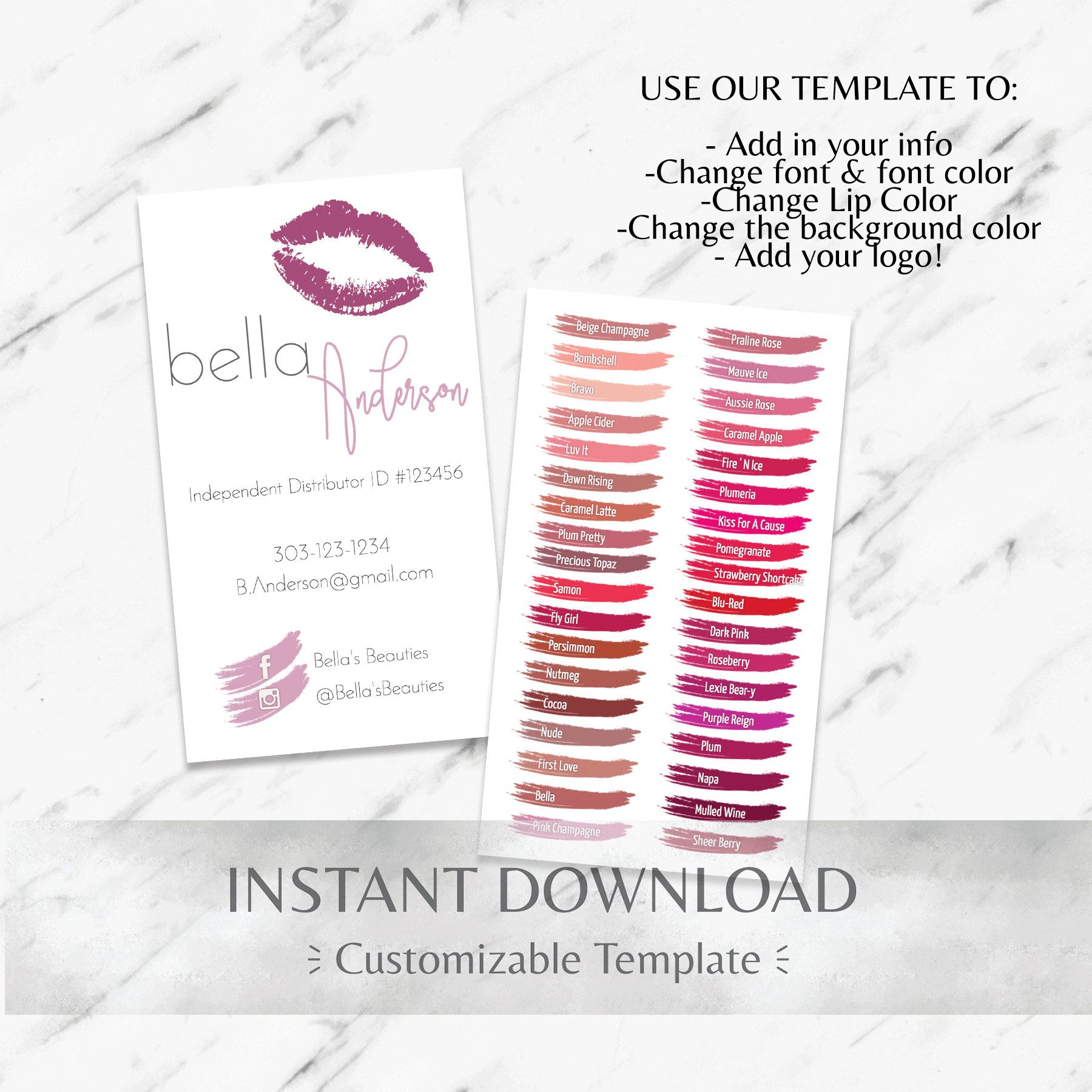 LipSense 36 Color Chart Business Card Template. Customizable for ...