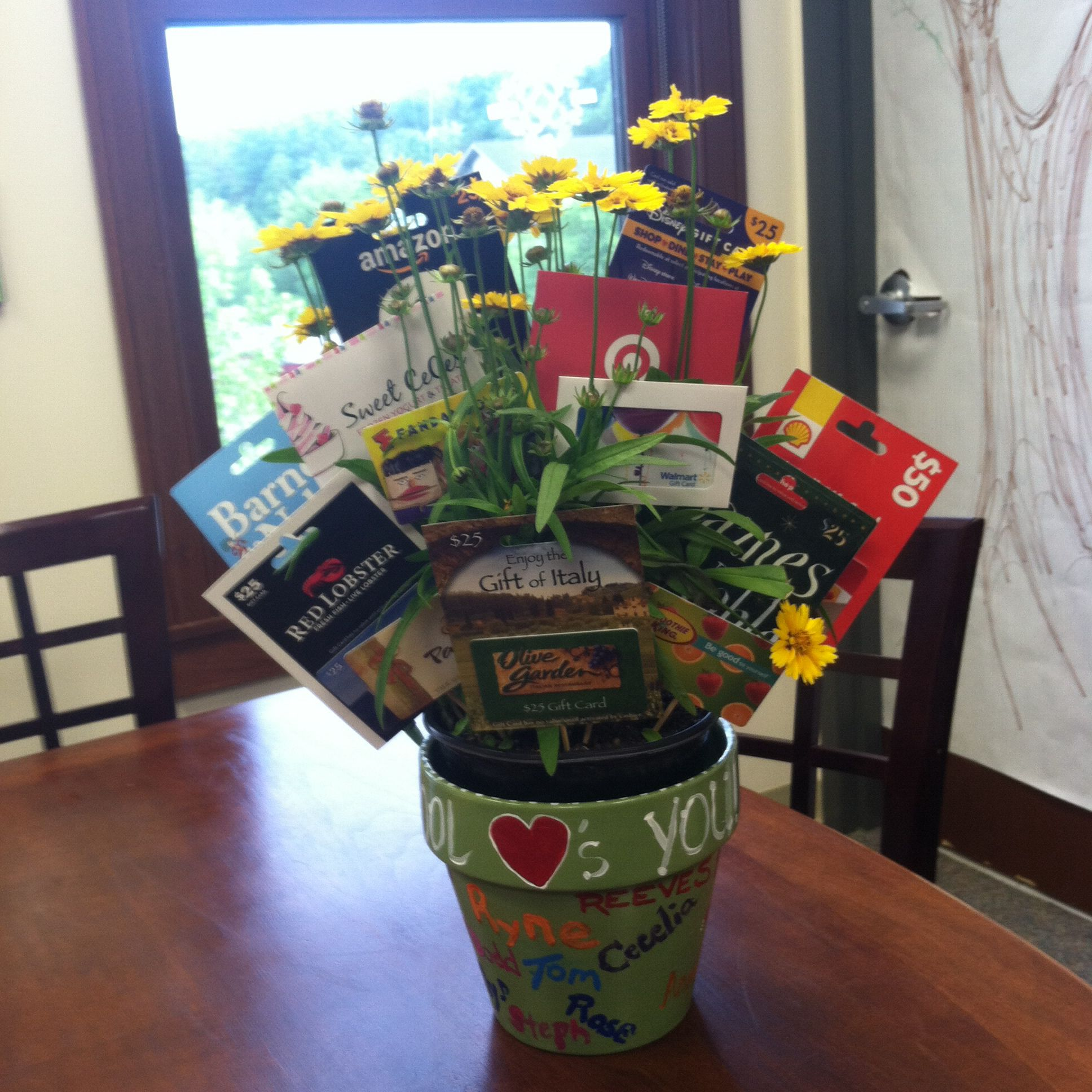 Gift card bouquet made this as a group retirement gift