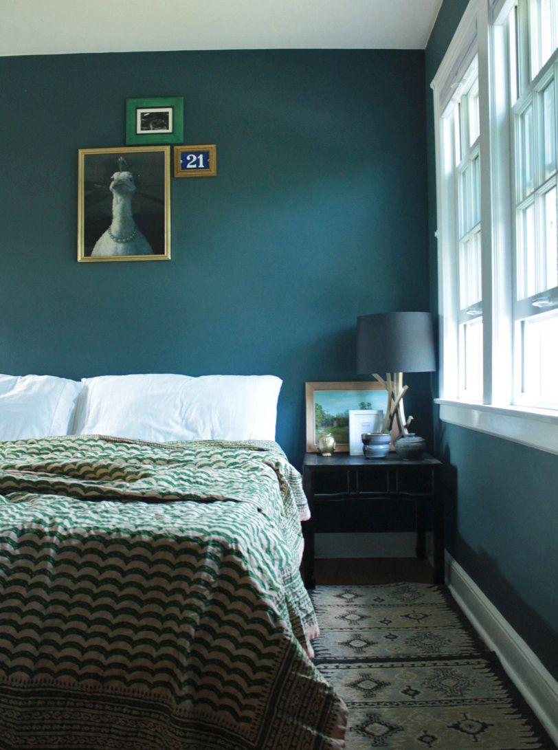 master bedroom, Benjamin Moore Newburg Green homedecor