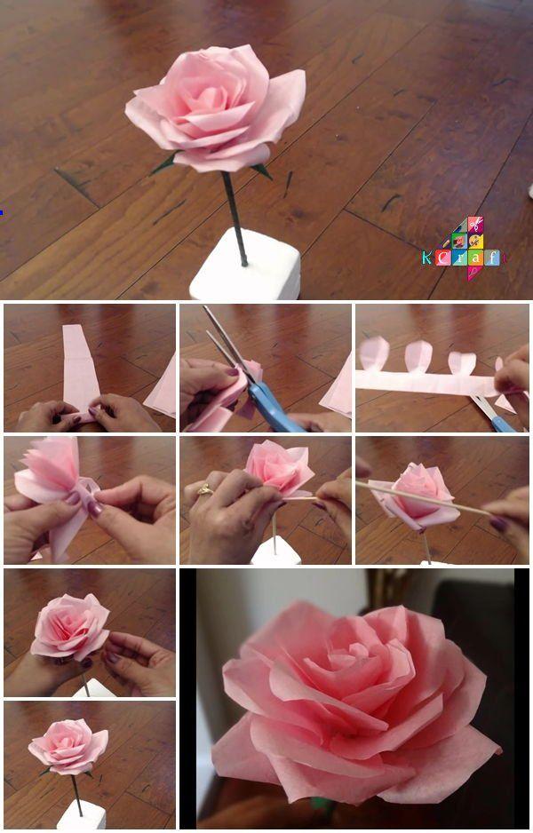How To Make Tissue Paper Rose Flower Easy Paper Flowers Paper Flower Tutorial Tissue Paper Flowers