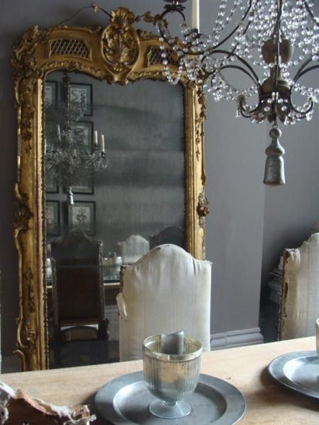 Gorgeous French Dining Room With Gray Walls Paint Color, Gilt Floor Mirror  And Chandelier.