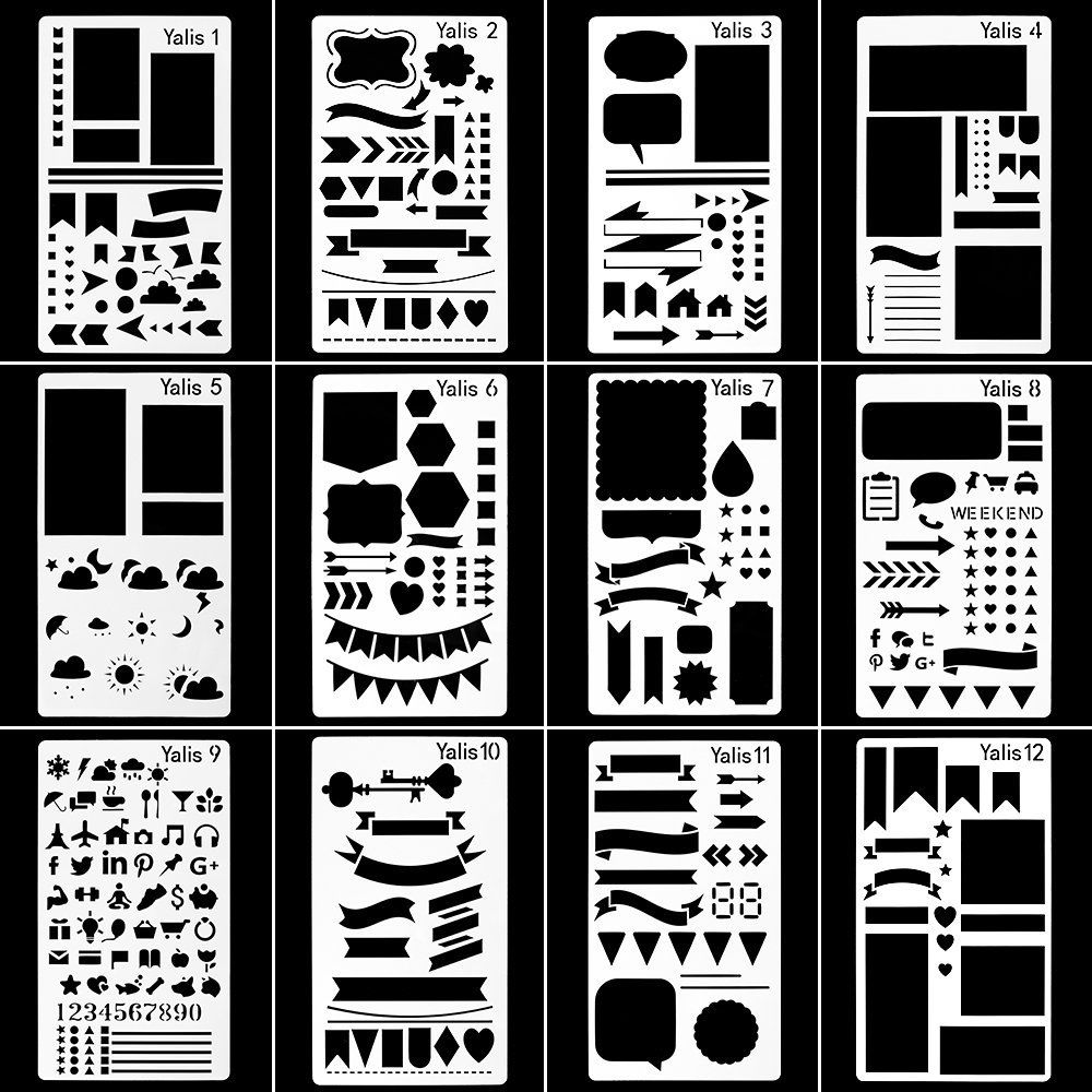Yalis 12 Pcs Journal Stencil Plastic Planner Set for Notebook//Diary//Scrapbook