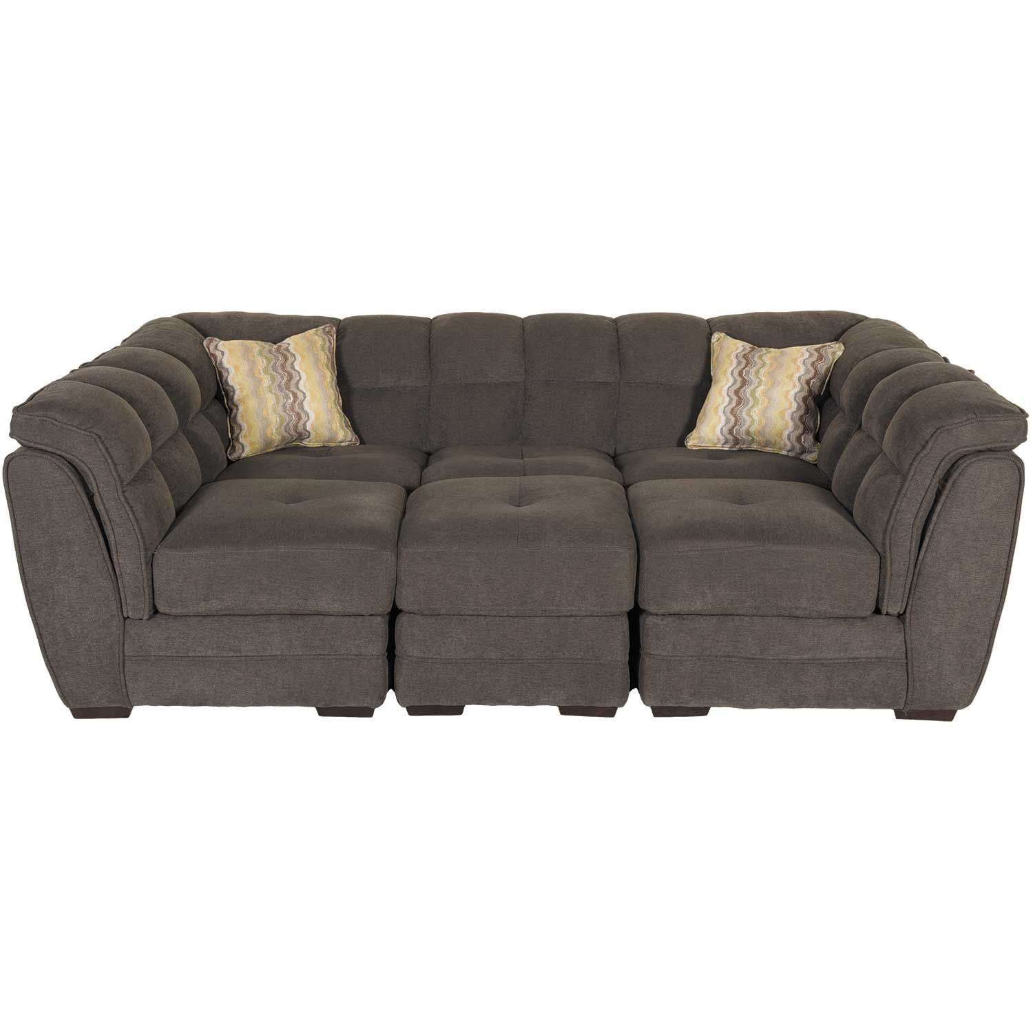 Clio Gray 4 Piece Pit Sectional 1A 100 4PC Vogue Furniture Direct