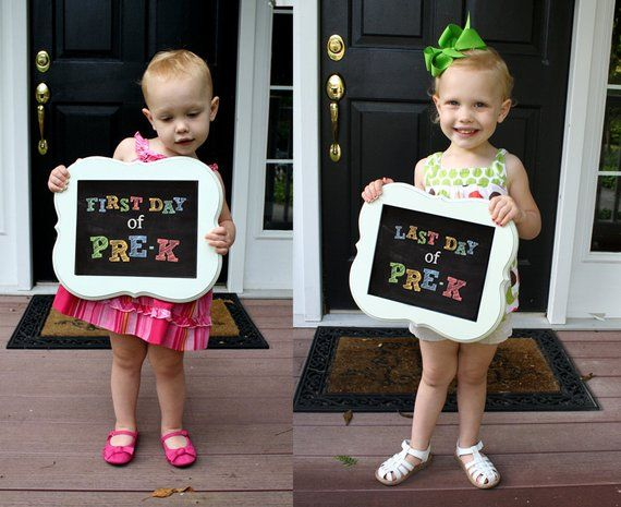 Items similar to PRE-K Chalkboard Signs - First Day & Last Day (2 signs included) on Etsy
