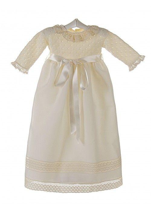31e17264c Faldón de ceremonia y bautizo para bebé con cuerpo de lana y encaje de V  alencienne
