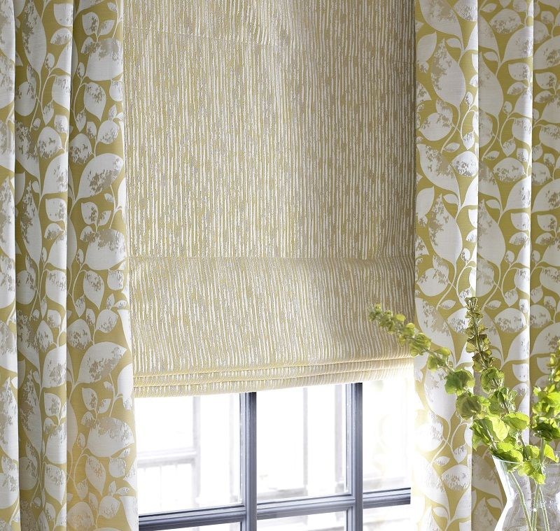 Soft Yellow Patterned Curtain Fabric From The Emeka Collection By Charles Parsons Colour Zest Available Throug Curtains With Blinds Curtains Curtain Texture
