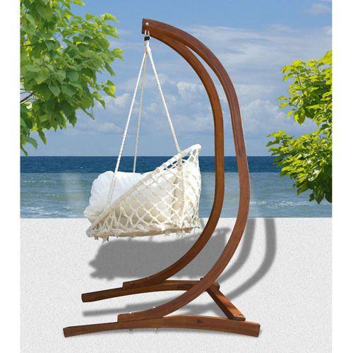 hamaca sillon colgante jardin terraza madera 115 x 115 x 215 cm - Hamaca Jardin