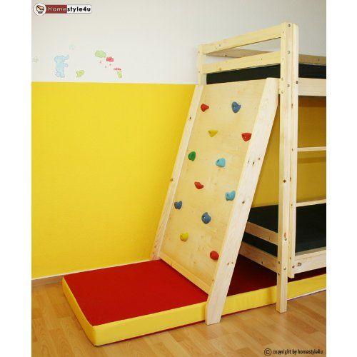 Homestyle4u Kletterwand mit Fallschutz für Etagenbett, Hochbett, Kinderbett, Spielbett