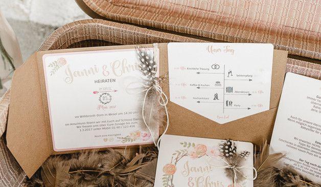 Das Set Enthalt 1x Pocketfold Karte Format Quadratisch Ca 15 X 15 Cm Kartonhulle Kraftpapier Hochzeitseinladung Einladungskarten Hochzeit Hochzeitskarten