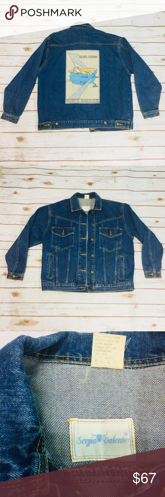 69daa06eb7 VINTAGE 80 s Men s Jean Jacket Sergio Valente Very cool vintage men s jean  jacket from the 1980 s. Features a decal on the back. Size medium. In very  good ...