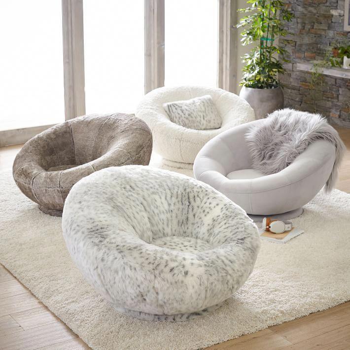 Gray leopard fauxfur groovy swivel chair living room
