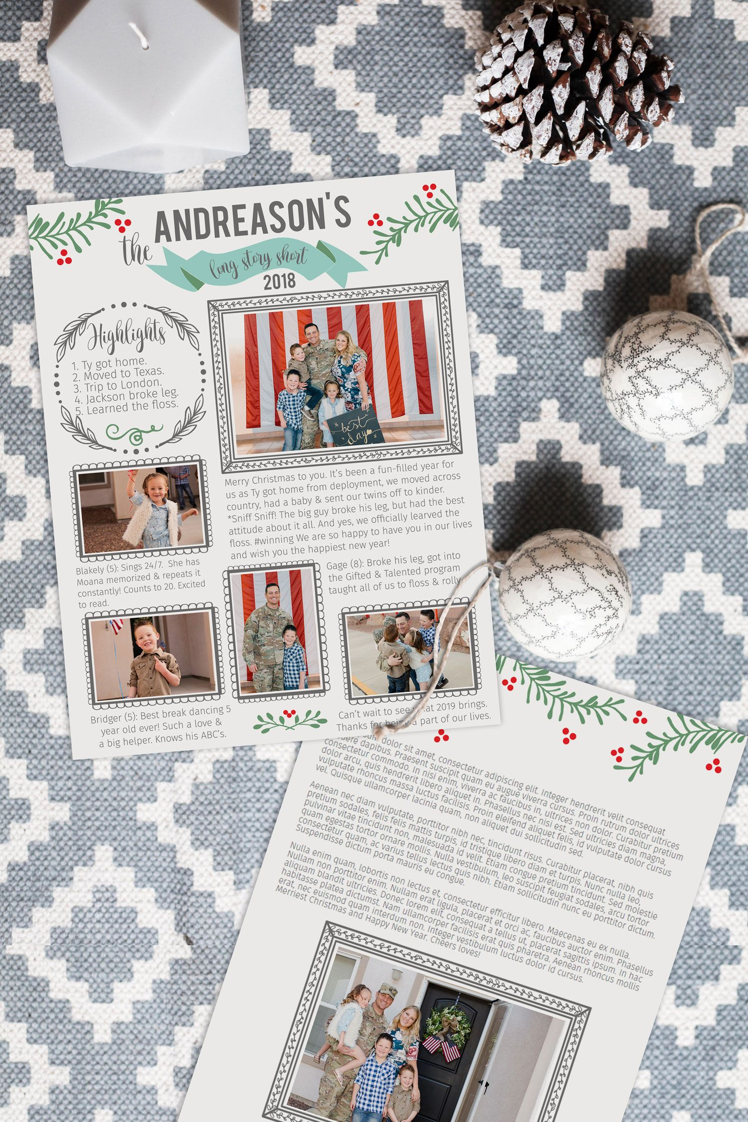 Christmas family newsletter template year in review