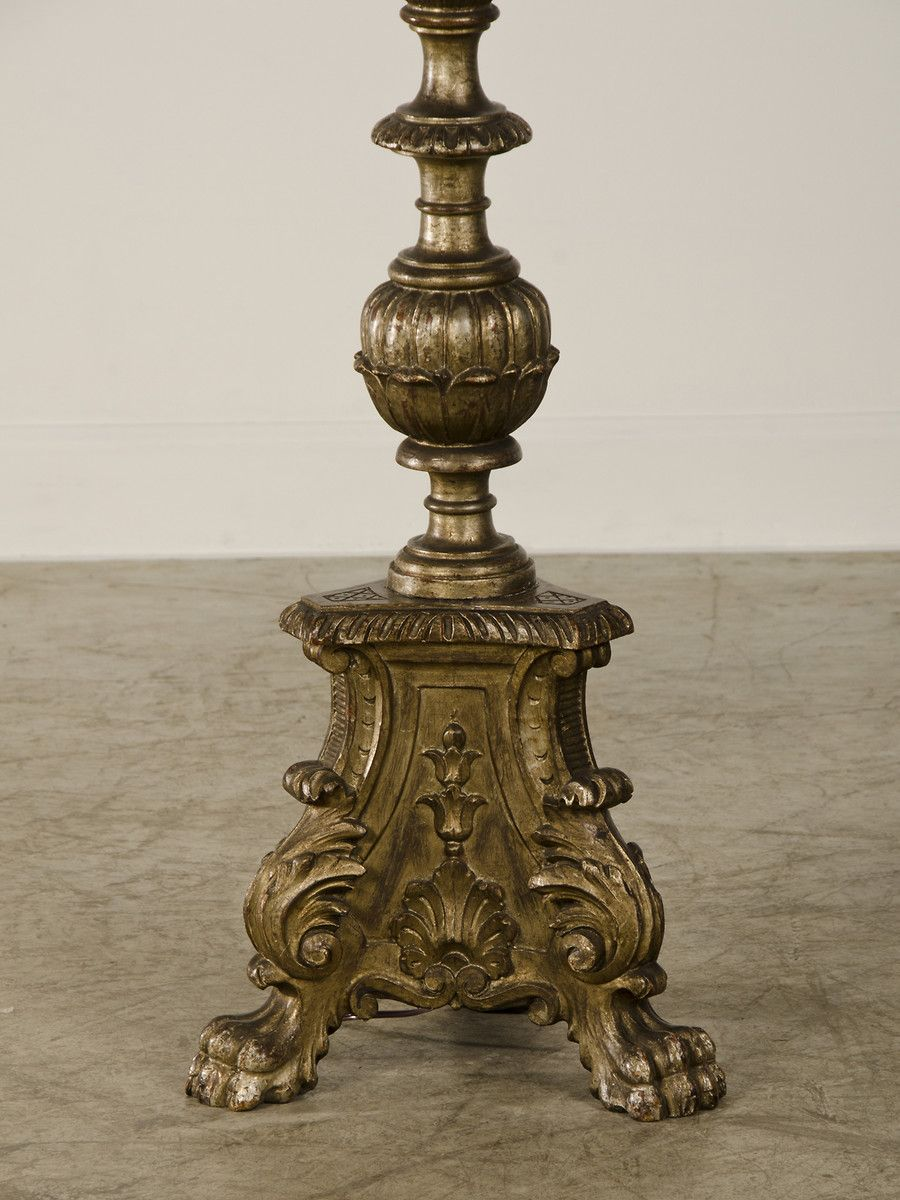 A handsome silver leaf baroque style carved wooden candle stand a handsome silver leaf baroque style carved wooden candle stand from italy c1875 now mozeypictures Choice Image