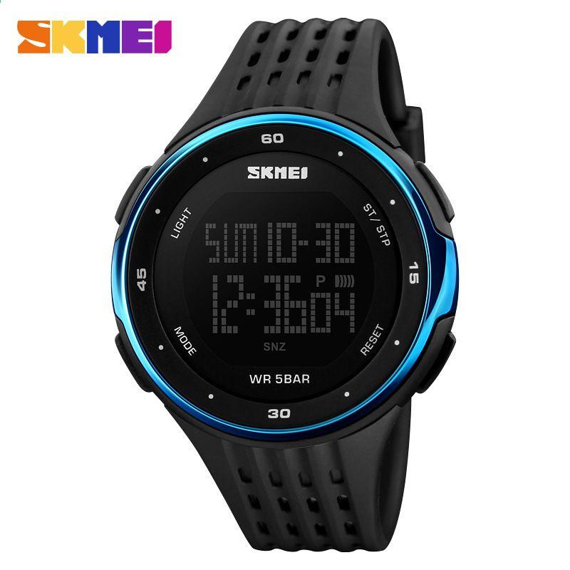 SKMEI Чоловічий спортивний годинник 50 метрів Водонепроникний світлодіодний  спортивний таймер зворотного відліку військовий годинник жіночий цифровий 180f602859130