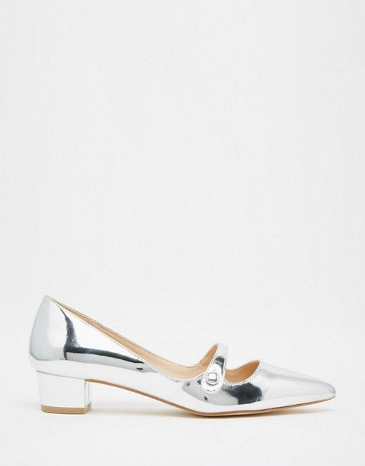 f21805e92a8 Miss KG Audrina Silver Patent Mid Heeled Mary Jane Heeled Shoes ...