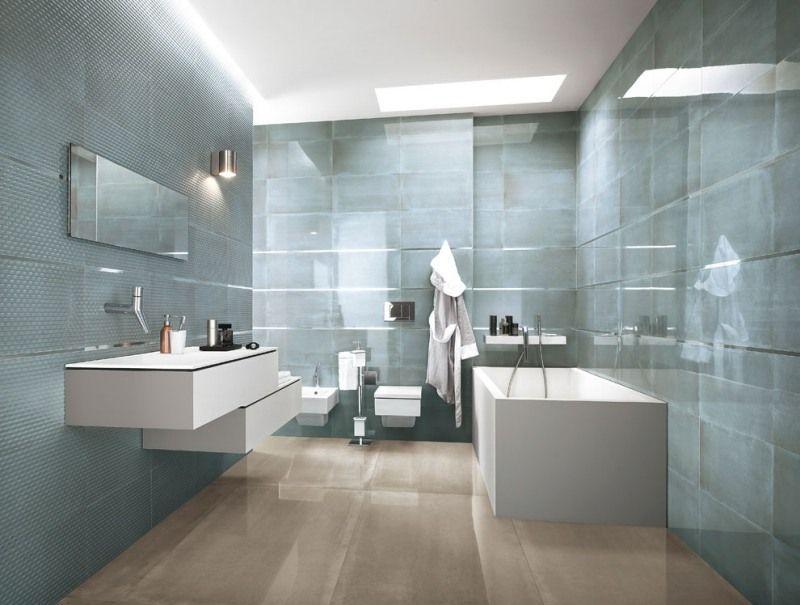 Coloru003eNow - Beige Micromosaico - Porcelain Tile Coloru003eNow - 2017 - salle de bain gris et bleu