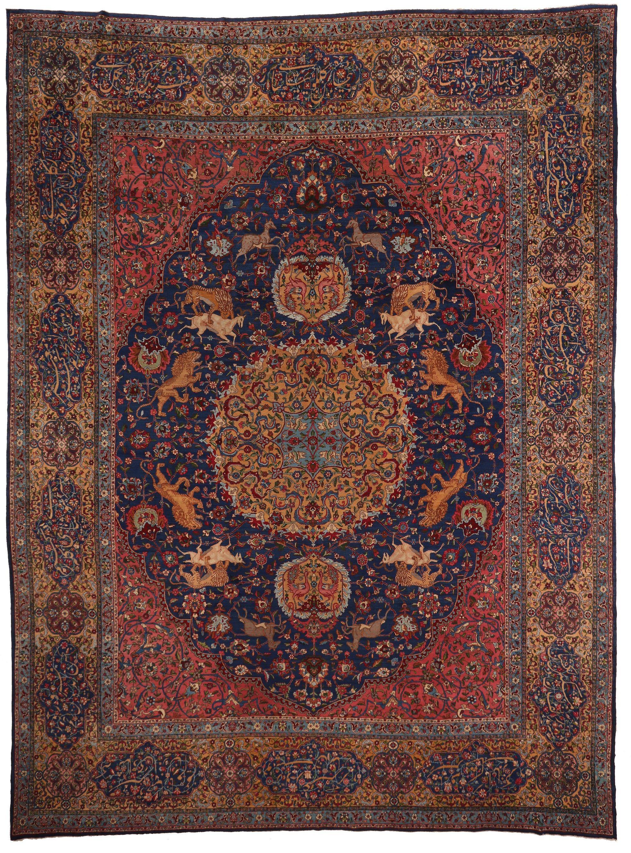 Yazd Circa1920 Size In Cm 526 X 392 Cm Size In Feet 17 3 X 12 9 Ft Ramezani Persian Carpet Rugs On Carpet Antique Carpets