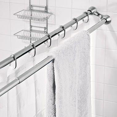 The Shower Curtain Towel Rack Hammacher Schlemmer Shower Rod