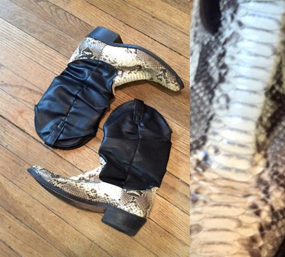 7cc19776216 Snakeskin and Black Leather Cowboy Boots mens 8 or Womens 9 9.5 ...
