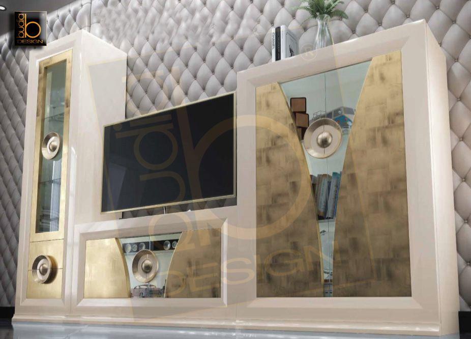 Muebles Lacados Blanco Para Salon.Muebles Modulares Para Salon En Dos Tonos Lacado En Blanco