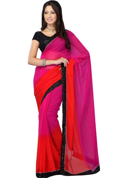 497389b099 Magenta Colored Chiffon Plain Saree | Women's fashion | Saree ...