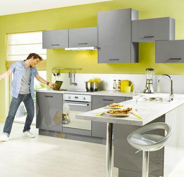 decoration cuisine gris et jaune cuisine Pinterest - cuisine ilot central conforama