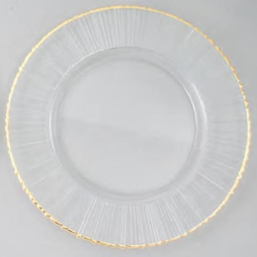 Glass Charger Plates | Wholesale Charger Plates   Glass With Ray Design    Gold Rim