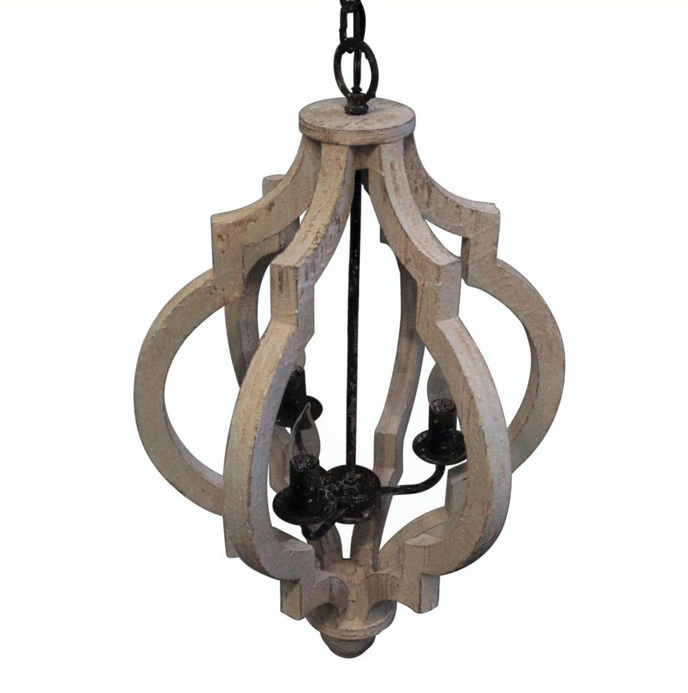 Vintage French Farmhouse Crown Style Gray White Wash Wood Pendant Chandelier Unbranded Wood Pendant Chandelier Chandelier Wood Chandelier