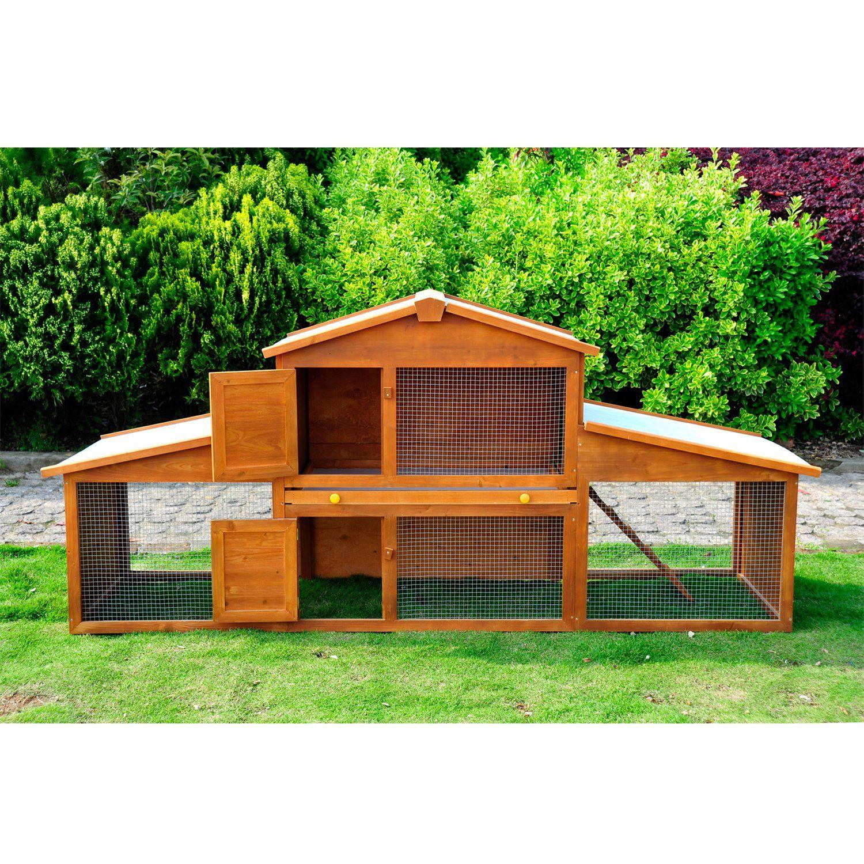 cage lapin poulailler clapier en bois rongeur de grande taille avec 2 tages 215x63x100cm. Black Bedroom Furniture Sets. Home Design Ideas