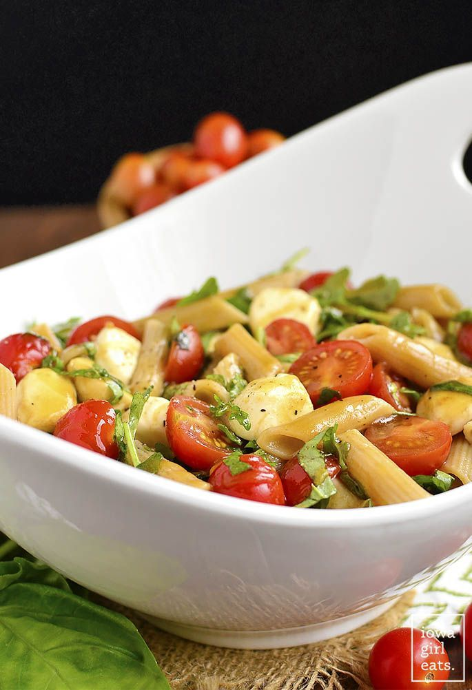 salad caprese pasta iowagirleats