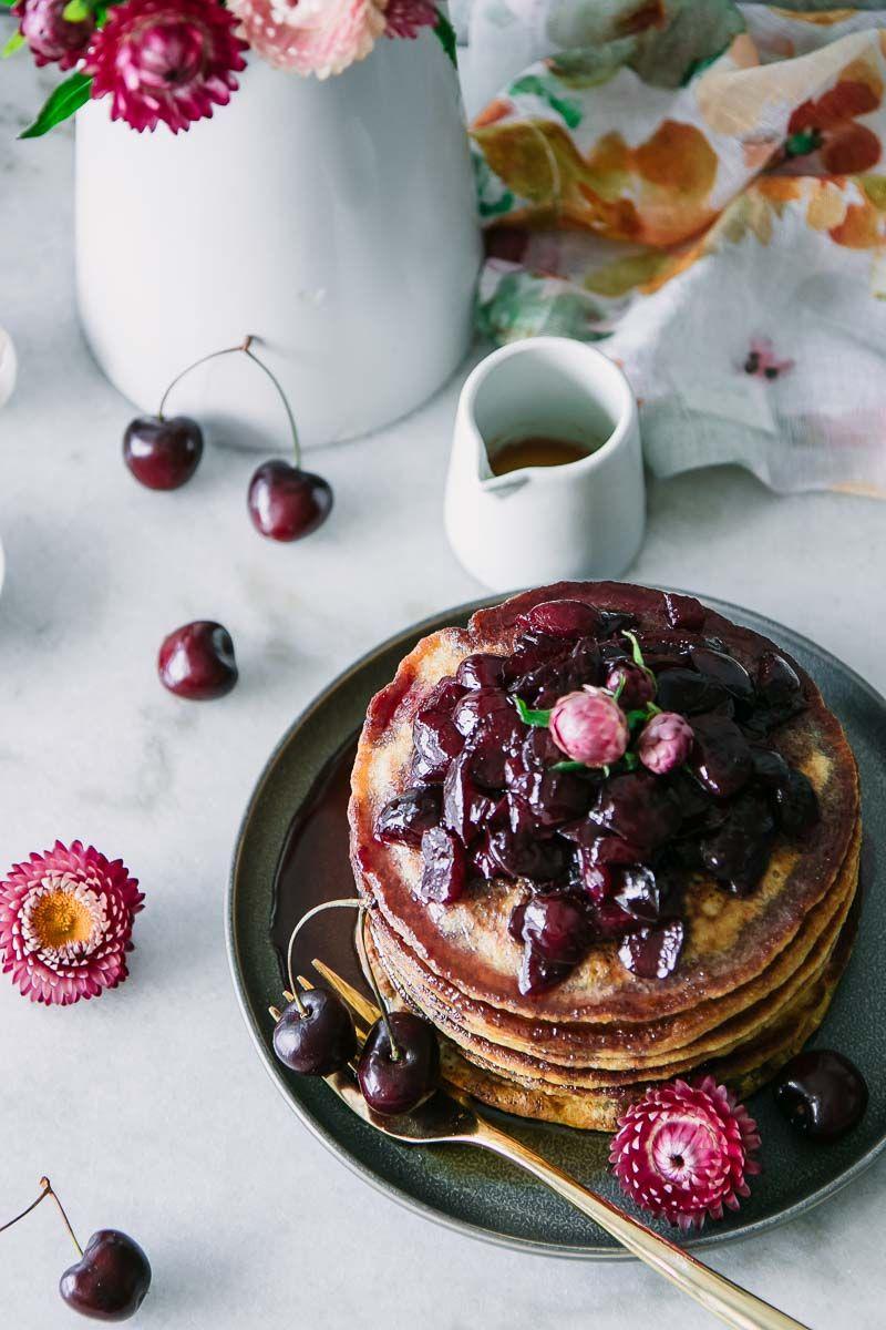 Black cherry hoecakes cornmeal pancakes recipe