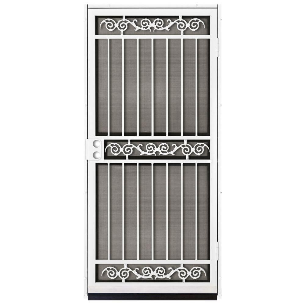 Unique Home Designs 36 In X 80 In Sylvan White Surface Mount Outswing Steel Security Door With Insect Screen Idr12500362010 The Home Depot Steel Security Doors Steel Door Design Home Door Design